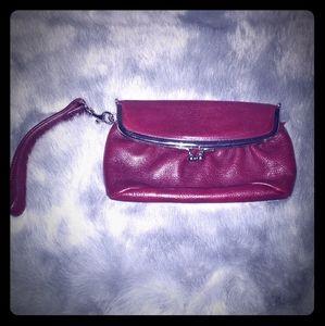 Latico leather wristlet wine color